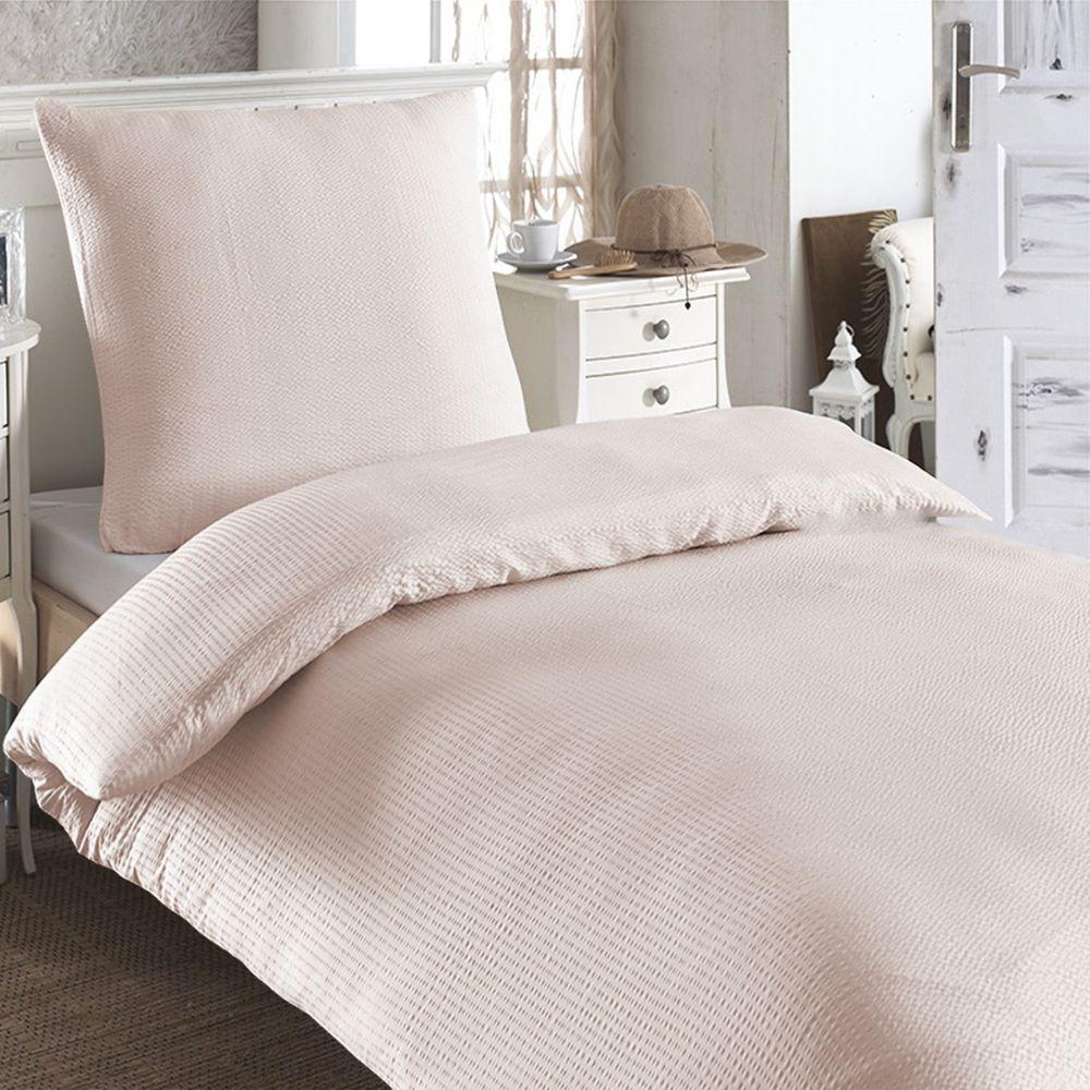 2 tlg baumwoll seersucker bettw sche 135x200 kissenbezug 80x80 bettbezug ebay. Black Bedroom Furniture Sets. Home Design Ideas