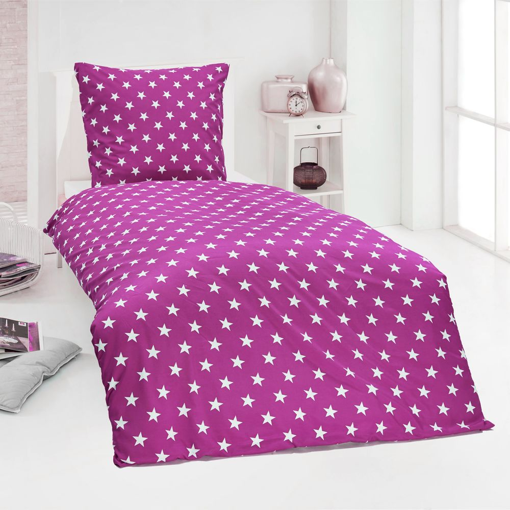 hochwertige microfaser bettw sche bettbezug sterne stars pink blau 135x200 80x80 bettw sche 135x200. Black Bedroom Furniture Sets. Home Design Ideas