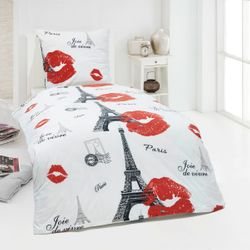4 tlg Warme Winter Microfaser Flausch Fleece Bettwäsche Love 135x200 Eiffelturm Paris – Bild 1
