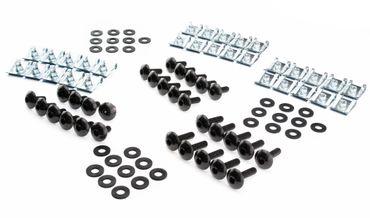 Werkstatt Set M5 für Verkleidung mit Schrauben schwarz, Unterlegscheiben aus Gummi und Clipse