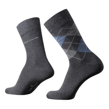Tom Tailor Herren Socken 2er Pack  Argyle + uni