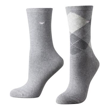Tom Tailor 2er Pack Argyle Women Socks 9879 grau melange Doppelpack Strümpfe Socken Raute-ndesign+uni