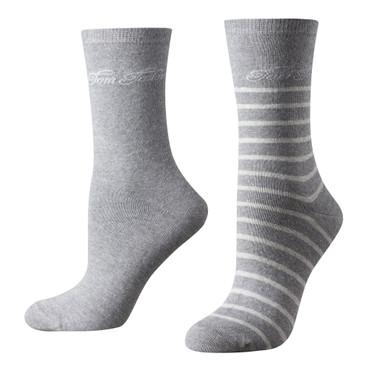 Tom Tailor 2er Pack Stripe Women Socks 9880 grau melange Doppelpack Strümpfe Socken Streifen-design + uni
