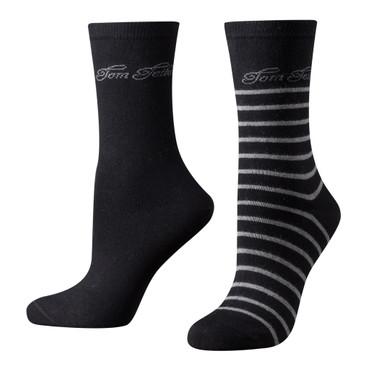Tom Tailor 2er Pack Stripe Women Socks 9880 schwarz melange Doppelpack Strümpfe Socken Streifen-design + uni