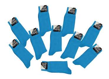 [Paket] Herren 10 Paar Business Strümpfe Basic Socken JUST SOCKS turquise blau SPARPACK