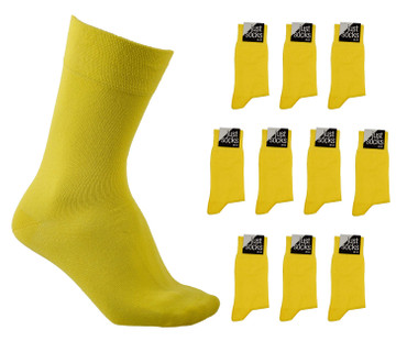[Paket] Herren 10 Paar Business Strümpfe Basic Socken Just Socks sonnen gelb Sparpack