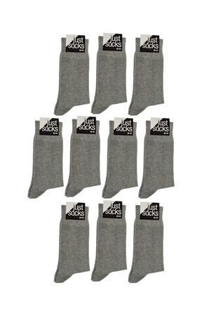 [Paket] Herren 10 Paar Business Strümpfe Basic Socken JUST SOCKS grau melange Sparpack