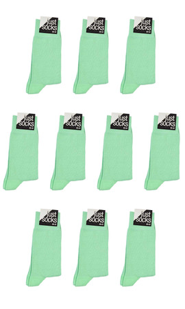 [Paket] 10 Paar Business Basic Socken JUST SOCKS mint-green pastel grün Mehrfachpack