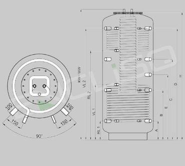 Hygiene-Kombispeicher 1000 ltr. - 2 WT