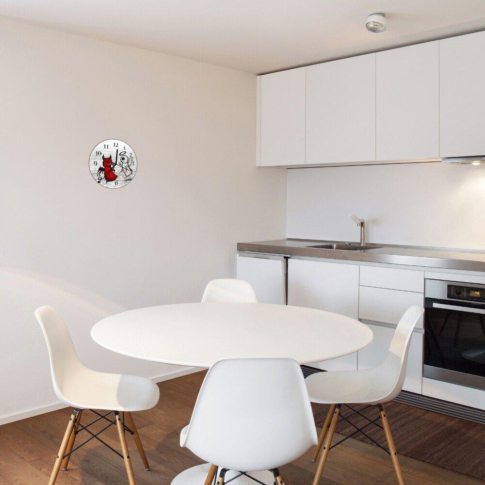 dekoglas glasuhr teufel engel schwarz rund 30cm acryl glas wanduhr k che gro ebay. Black Bedroom Furniture Sets. Home Design Ideas