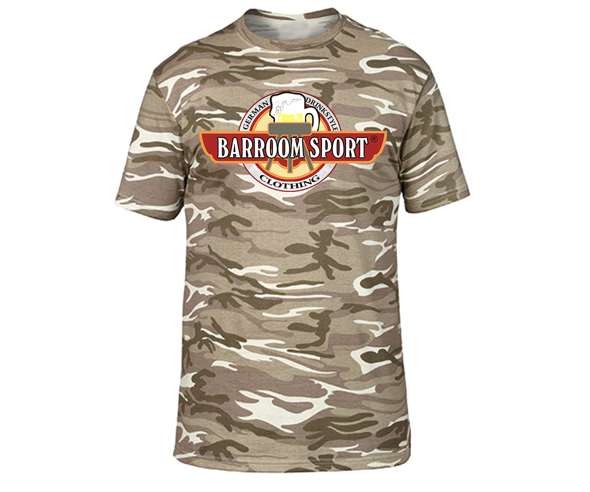 Barroom Sport Drinkstyle Clothing Logo Männer T-Shirt Camo – Bild 5