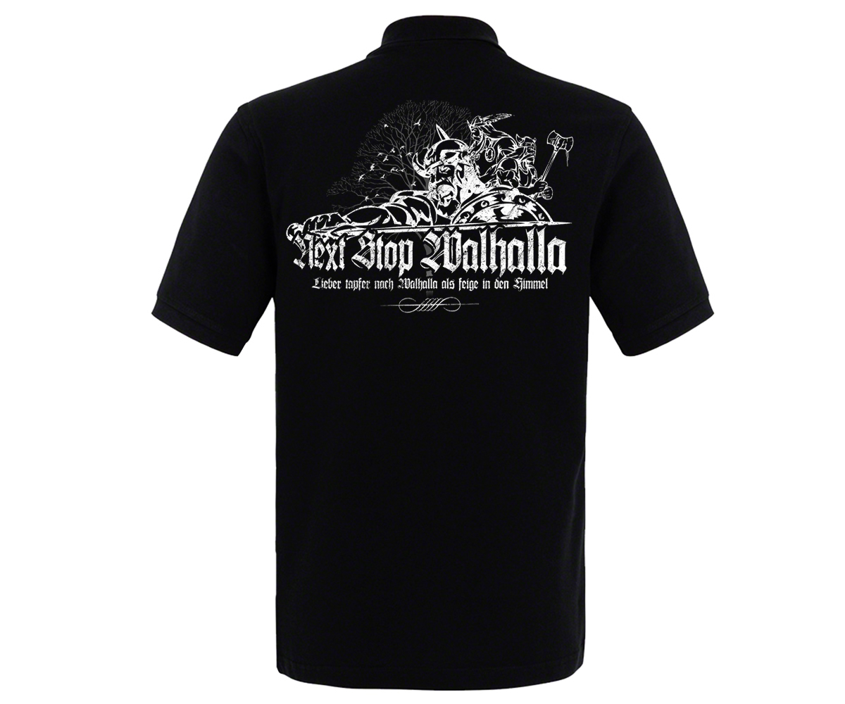 Next stop Walhalla Hardcorps Männer Polo Shirt – Bild 2
