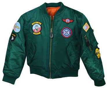 Kinder MA-1 Flieger Jacke Top Gun bottlegreen