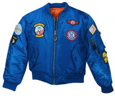Kinder MA-1 Flieger Jacke Top Gun royal blau