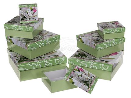 101685 Grüne Geschenkkartonage, Blumendesign, ca. 22,5 x 22,5 x 8 cm, 8er Set, einzelne EAN-Auszeichnung