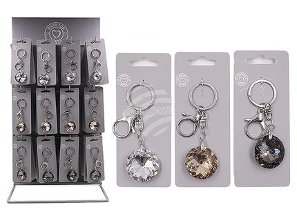 24-1108 Metall-Schlüsselanhänger, Round Crystal, ca. 3,5 cm, 3-farbig sortiert, 72 Stück auf Display