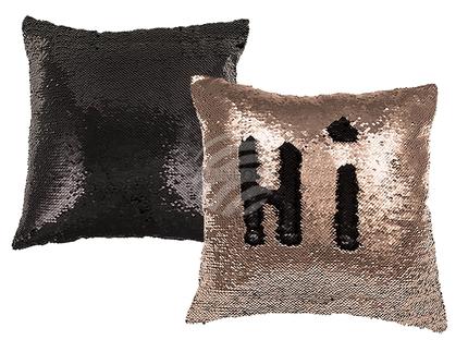 190317 Champagner/schwarzes Pailletten-Kissen, Glamour, mit Reissverschluss, 50% PET & 50% Polyester, ca. 40 x 40 cm, ca. 250 g Füllgewicht, 120/PAL