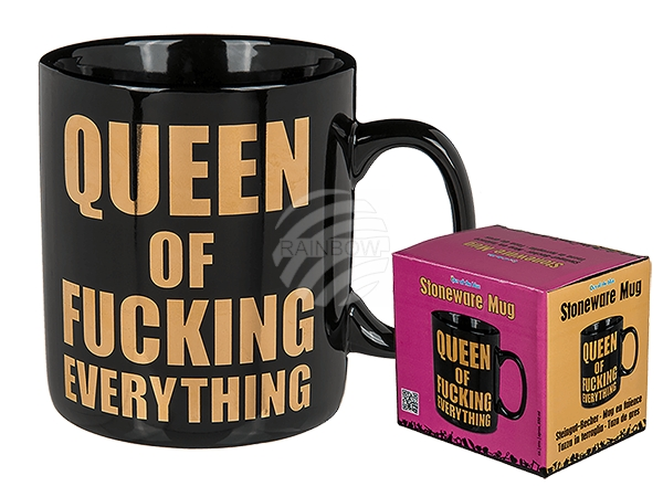 78-8278 Steingut-Becher, Queen of fucking everything, ca.13 x 11 cm, 360/PAL