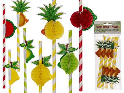 500175 Papier-Strohhalm, Früchte, L: 18 cm, 4-fach sortiert, 8 Stück im Polybeutel mit Headercard, 3456/PAL