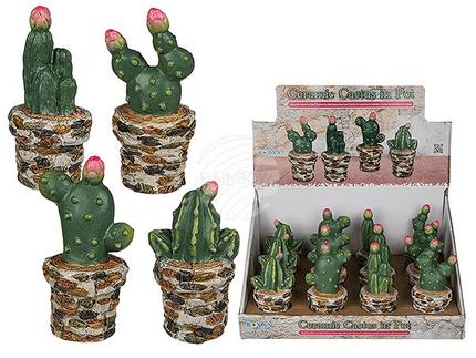 101473 Keramik-Kaktus im Topf, ca. 6 x 13 cm, 4-fach sortiert, 12 Stück im Aufsteller