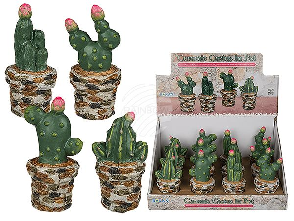 101473 Keramik-Kaktus im Topf, ca. 6 x 13 cm, 4-fach sortiert, 12 Stück im Aufsteller, 960/PAL