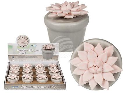 101475 Rosa Keramik-Blume im grauen Topf, ca. 5,5 cm, 12 Stück im Display, 2112/PAL