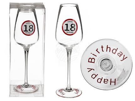 750109 Sektglas, Happy Birthday - 18, ca. 23 cm, in PVC-Box, 576/PAL