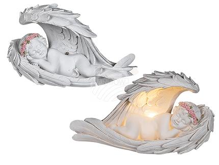 937337 Schlafender Polyresin-Engel im Flügel mit rosafarbenen Rosenblütenkranz-Dekor & LED (inkl. Batterie) ca. 22 x 13 cm, 240/PAL
