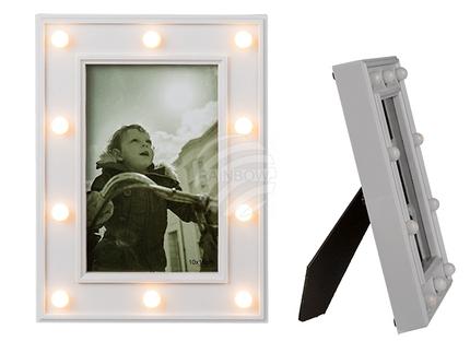 94-2577 Beleuchteter Kunststoff-Bilderrahmen, Glamour Light, mit 10 LED, ca.10 x 15 cm, für 2 Micro Batterien (AAA), 720/PAL