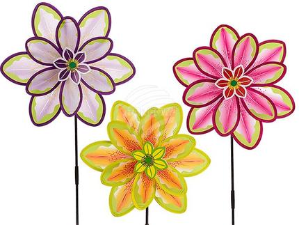 137240 Windrad, Blume mit 2 Rädern, ca. 38 x 90 cm, 3-farbig sortiert