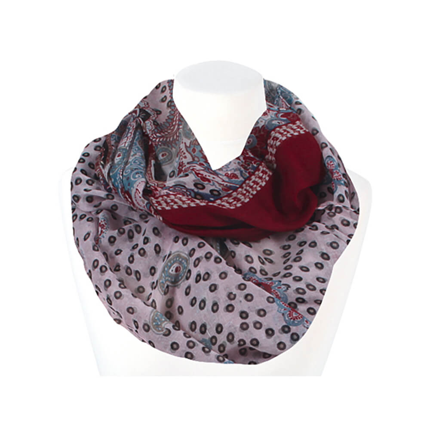 SCH-1401d Damen Loop Schal Floral Paisley rosa rot hellblau schwarz