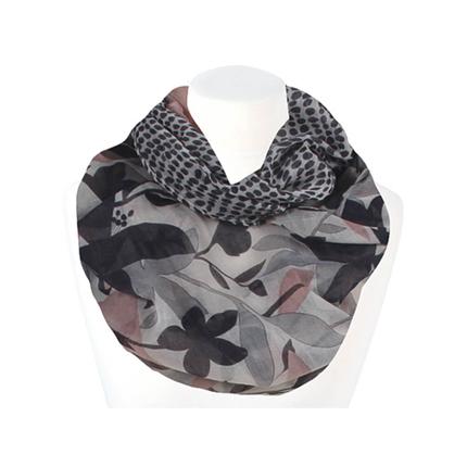 SCH-1402c Damen Loop Schal Floral Punkte beige pink schwarz grau