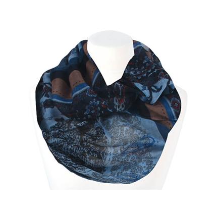 SCH-1403c Damen Loop Schal Paisley floral hellblau blau schwarz rot