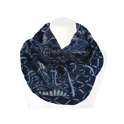 SCH-1408b Damen Loop Schal Karo Paisley marine rosa blau weiß