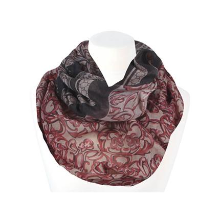 SCH-1409c Damen Loop Schal Klassisch Floral Wabe beige rot rosa dunkelbraun
