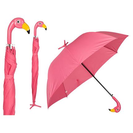 61-1860 Regenschirm, Flamingo mit Standfuß, D: ca. 96 cm, 360/PAL