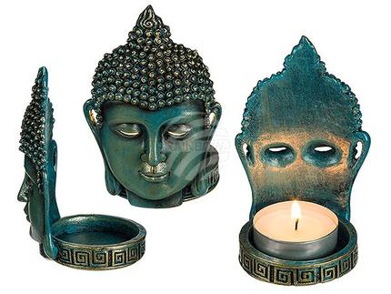 78-5834 Polyresin-Teelichhalter, Thai Buddha, ca. 11 cm, 1440/PAL