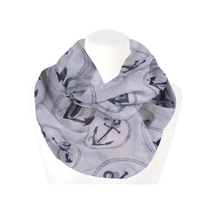 SCH-1428b Damen Loop Schal Maritim Anker grau blau