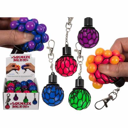 12-0926 Metall-Schlüsselanhänger, Squeeze-Ball im Netz, ca. 5 cm, 4-farbig sortiert, 24 Stück im Display, 8640/PAL