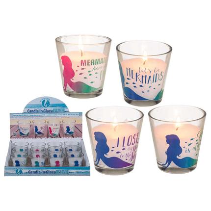 144022 Kerze im Glas, Meerjungfrau, ca. 6,5 x 6,5 cm, 4-fach sortiert, 12 Stück im Display