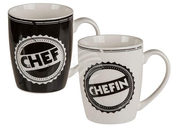 101760 New Bone China-Becher, Chef & Chefin sortiert, ca. 10 x 8 cm