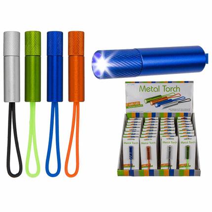 57-9494 Metall-Taschenlampe mit LED (inkl. Batterien) ca. 5,5 cm, 4-farbig sortiert, auf Blisterkarte, 32 Stück im Display