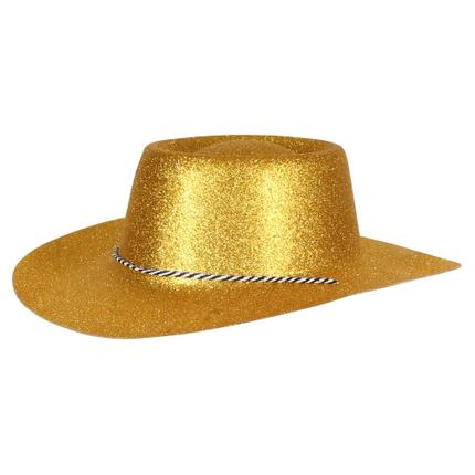 CW-52 Cowboyhüte Hüte gold glitzernd ca. 38 x 35 cm