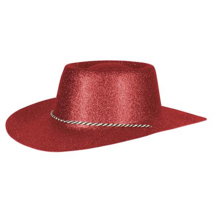 CW-53 Cowboyhüte Hüte rot glitzernd ca. 38 x 35 cm