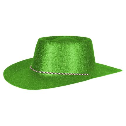 CW-54 Cowboyhüte Hüte grün glitzernd ca. 38 x 35 cm