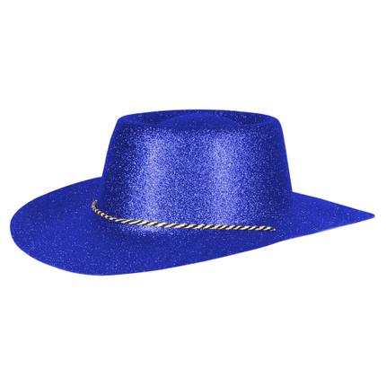 CW-55 Cowboyhüte Hüte blau glitzernd ca. 38 x 35 cm