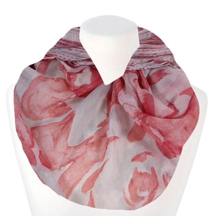 SCH-1503d Damen Loopschal Blumen & Streifen rosé rosa