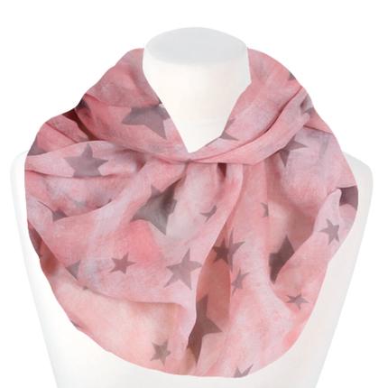 SCH-1506b Damen Loopschal Sterne rosa grau