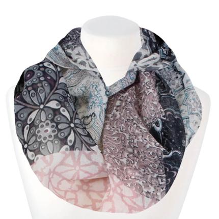 SCH-1513a Damen Loopschal Florale Ornamente sand rosa schwarz grau
