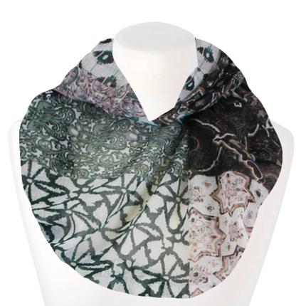 SCH-1513e Damen Loopschal Florale Ornamente weiss braun schwarz petrol
